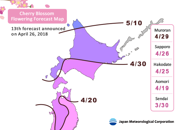 Release of 2018 Cherry Blossom Forecast (13th forecast) | Japan