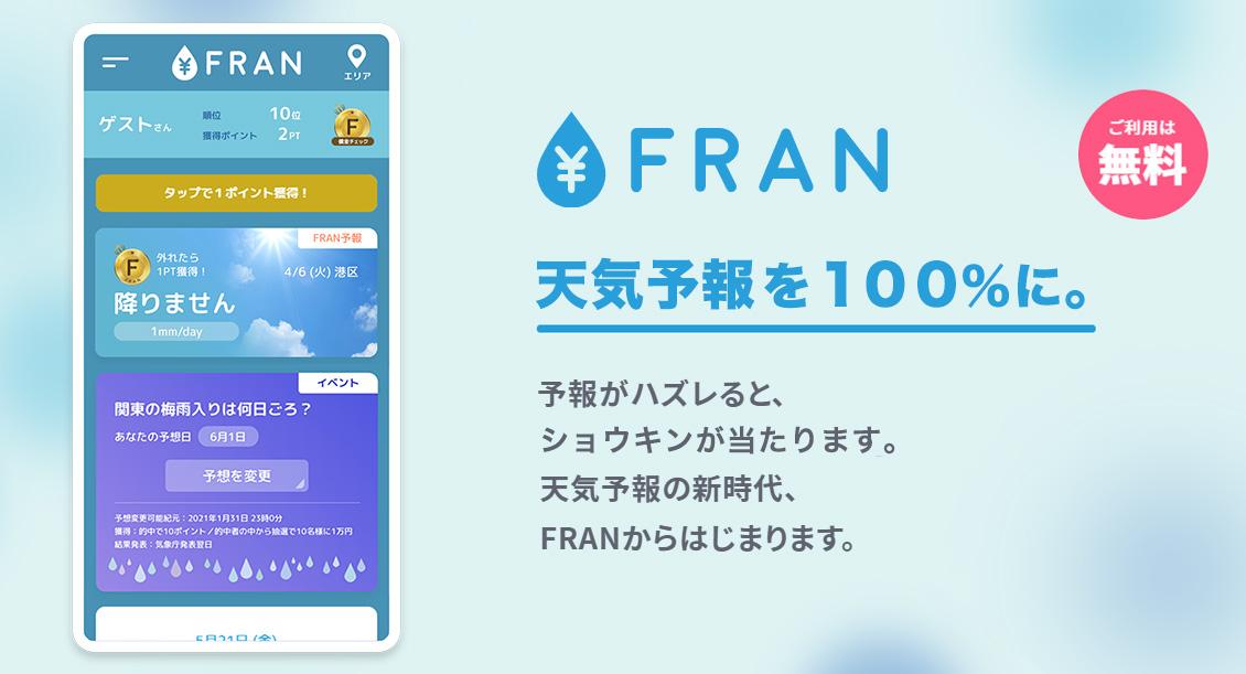 お天気補償サービス「FRAN」